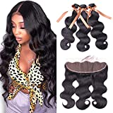 ALLRUN Body Wave Bundles with Frontal Human Hair Bundles with Lace Frontal 8A Grade Brazilian Body Wave Human Hair Bundles with Ear To Ear Frontal (20 22 24+18 Inch)
