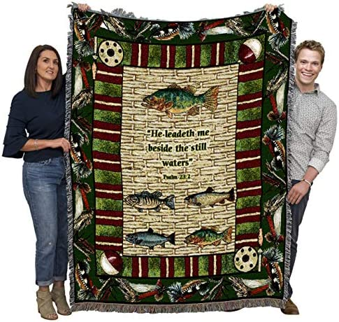 Gone Fishing He Leadeth Me Beside The Still Waters Scriptures Psalm 23 2 Blanket Throw Woven product image
