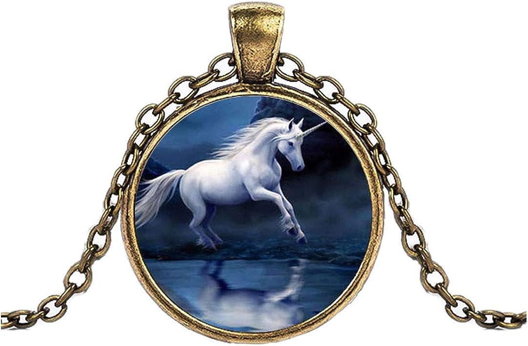 FOY-MALL Bronze-Tone Metal Glass Unicorn Pendant Necklace XL1541N