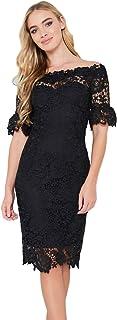 (ペーパードールズ)Paper Dolls ASOS人気ブランド オフショルダー レーススリーブドレス Floral Crochet Lace Bardot Dress [並行輸入品]