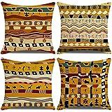 LAXEUYO Juego de 4 Cojin Fundas 45x45 cm, Étnico Africano Antiguo Algodón Lino Decorativa Hogar Almohadas Fundas para Sofá Cama Decoración para Hogar