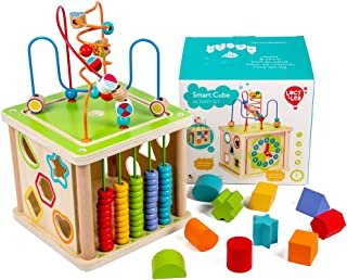 Lucy & Leo Wooden Activity Cube Multipurpose Play Center for Kids Shape Shorter Bead Maze Toy Educational Counting Baby Toy Learning Clock Skill