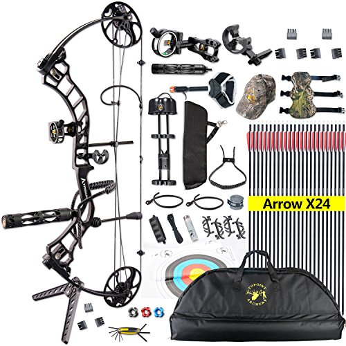 Topoint Trigon Compound Bow Full Package,CNC Milling Riser,USA Gordon Composites Limb,BCY String,19'-30' Draw Length,19-70Lbs Draw Weight,IBO 320fps (Black)