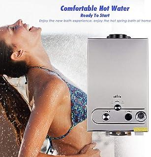 IDABAY Calentador de Agua de Gas, Gas Butano para Toda la Casa Baño al Aire Libre Ventilación Directa sin Tanque 1200W