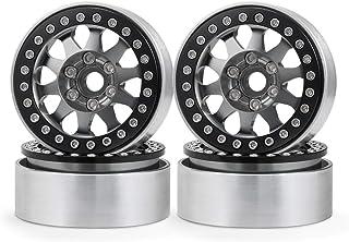4Pcs RC Wheel Rims Hub,1.9in Aluminium Alloy RC Crawler Rims Beadlock Wheel Rims RC Upgrade Replacement Accessories for SCX10 1//10 RC Crawler Car Black Blue