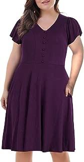 Women's Front Button V Neck Short Sleeve Vintage Plus Size Swing Dress