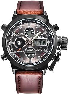 comprar comparacion Yesmile Relojes❤️Reloj de Pulsera de Acero Inoxidable Analógico para Hombre Reloj Militar de Cuarzo LED Regalo (Café B)