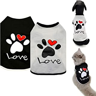 DELFINO Dog Shirt Puppy Clothes, 2 Pack Dogs T-Shirt Basic Vest Outfits, Pet Apparel Doggy Tee Tank Top Sleeveless for Sma...