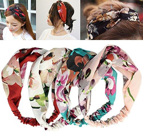 iLoveCos Frauen Elastische Stretchy Kopf Wrap Floral Style Crossover Stirnbänder 4 Stück Draht Stirnbänder Retro Art Verdrehte Haar-Band für Frauen Mädchen