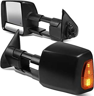 DNA MOTORING TWM-071-T888-BK-AM Pair Powered+Heated Towing Mirror w/LED Turn Signal Light