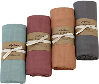 LifeTree 4 Pack Solid Swaddle Blankets, Soft Baby Muslin Wraps Receiving Blanket for Boys & Girls, Large 120 x 120cm, Rust...
