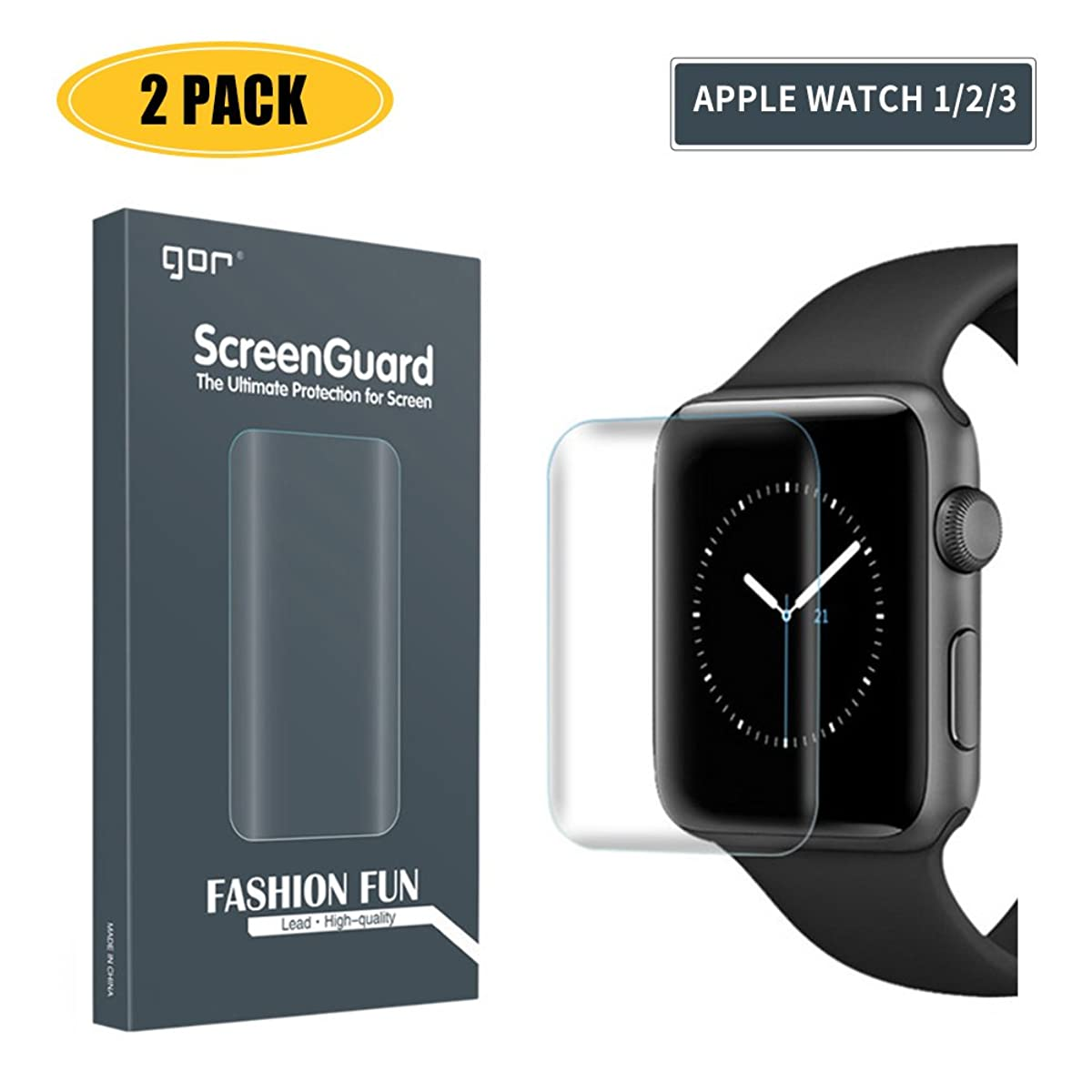 【2-Pack】 Screen Protector Compatible Apple Watch 3/2/1,iWatch Full Coverage PET+TPU Screen Protector Compatible Apple Watch Series 3/2/1 42mm - HD Clear,Ultra-Thin,Anti-Scratch,Anti-Bubble