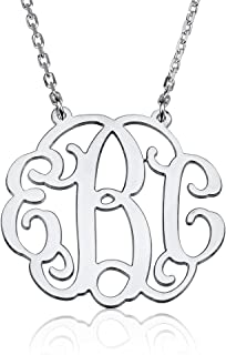 personalized monogram necklace sterling silver