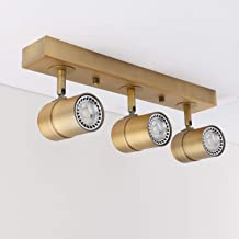 Pathson Vintage Style Tracking Lighting, 3 Lights Indoor Ceiling Light Fixtures, Chrome Antique Finished Hanging Spotlights (Antique)