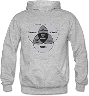 Zombies Robots and Aliens Venn Diagram Personality Design Pullover Hoodie Sweatshirts