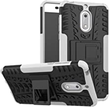 Case for Nokia 6 Case Cover,Case for Nokia 6 Arte Black Case Shockproof Mobile Phone Case Stand White