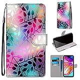 Miagon Flip PU Leder Schutzhülle für Samsung Galaxy A50,Bunt Muster Hülle Brieftasche Case Cover Ständer mit Kartenfächer Trageschlaufe,Zweig -