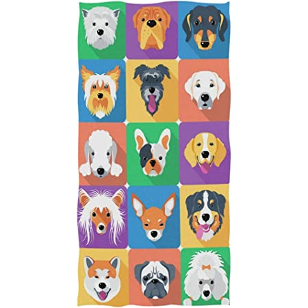 Cute Dog Beach Towels Soft Oversized Pet Hand Towels Multipurpose for Bathroom 31.5 x 59.1 Inches, Pink Pet Dog Bathroom Towel Hotel Gym and Spa