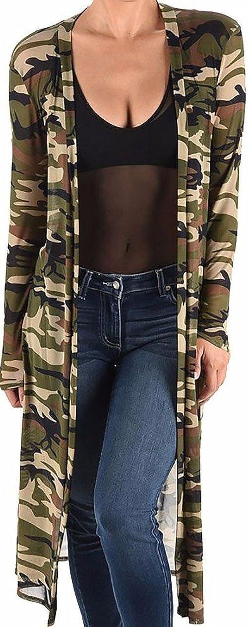 Funfash Women Camo Army Green Sheer Mesh Kimono Duster Cardigan Coat Jacket USA