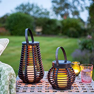 Lights4fun Set of 2 Rattan Solar Powered LED Outdoor Garden Lanterns