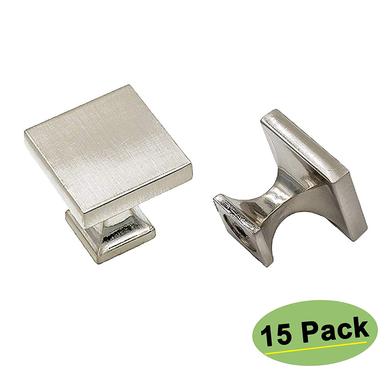 homdiy Cabinet Knobs Brushed Nickel 15 Pack - HD6785SNB SOILD WxW:1-1/10 inch Square Cabinet Knobs for Kitchen Cabinets Modern Drawer Knobs Silver Cabinet Hardware Knobs for Bathroom, Closet, Wardrobe