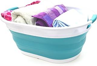 SAMMART Collapsible Plastic Laundry Basket - Oval Tub/Basket - Foldable Storage Container/Organizer - Portable Washing Tub - Space Saving Laundry Hamper (Bright Blue)