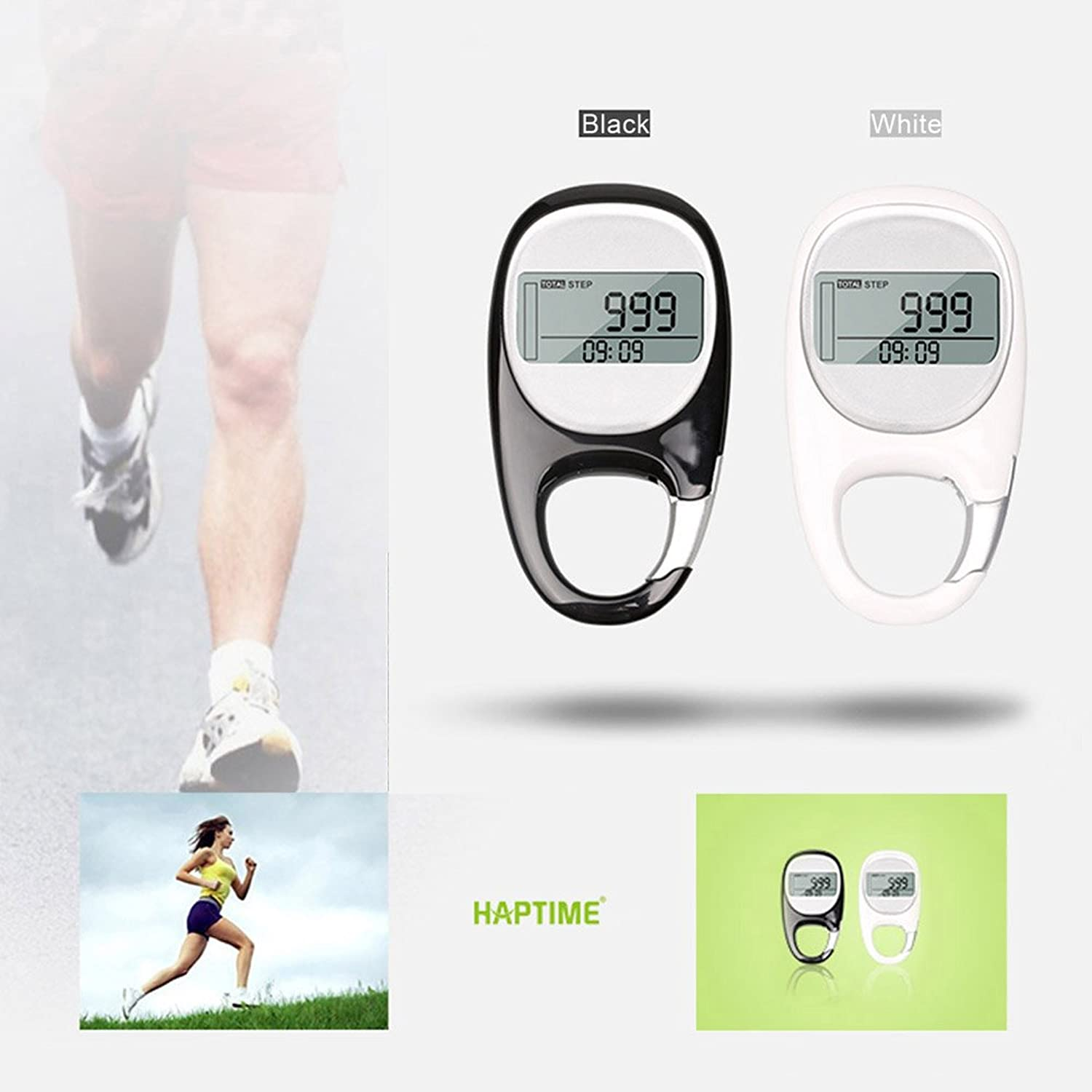 Texay(TM) 3D Pedometer LCD Display Step Calorie Counter Walking Motion Tracker Run Distance with 7Day Memory Clock Goal Setting