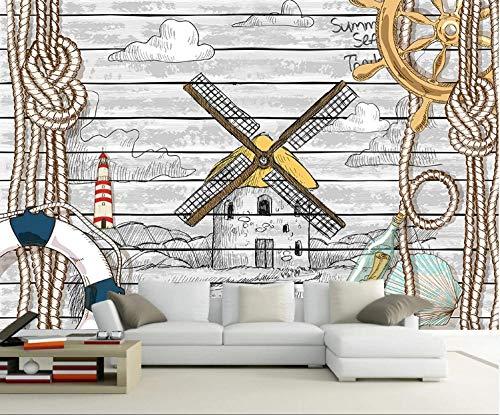Papel Pintado Pared 3D Papel De Pared Mural Pared Tema náutico del molino de viento de grano de madera gris 400x280cm Fotomurales Decorativos Pared Murales