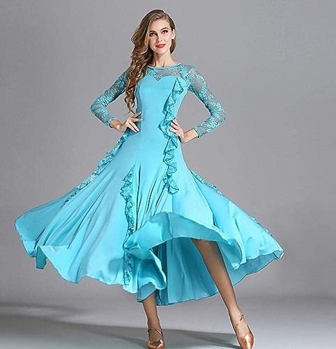 Z&X Robe De Danse Moderne pour Les Femmes Grand Pendule Jupe Salle De Bal Costume Competition De Lait Soie Stéréo Dentelle