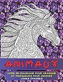 Livre de coloriage pour crayons et marqueurs pour adultes - Lignes épaisses - Animaux