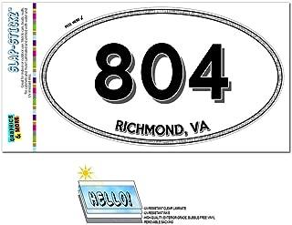 Graphics and More Area Code Euro Oval Window Laminated Sticker 804 Virginia VA Port Royal - Zacata - Richmond
