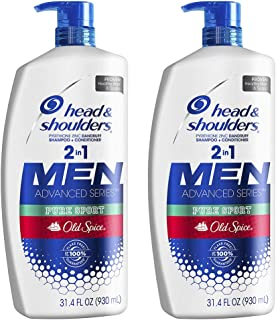 Head and Shoulders Shampoo and Conditioner 2 in 1, Anti Dandruff Treatment and Scalp Care, Old Spice Pure Sport , 31.4 Fl ...