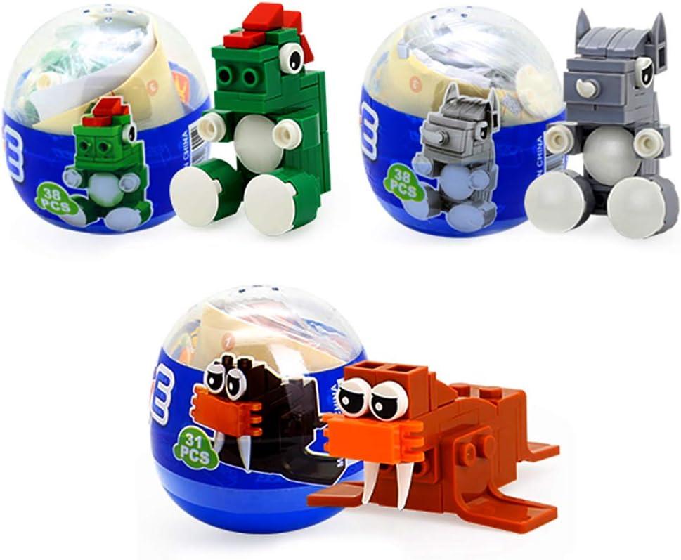 Kids Educational 3D Puzzle Jungle Theme Party Favors SIENON Surprise Mystery Egg Standard Size Building Blocks STEM Toys Dinosaur Rhinoceros Sea Lion Wild Safari Toys 3 Pcs Surprise Animal Eggs