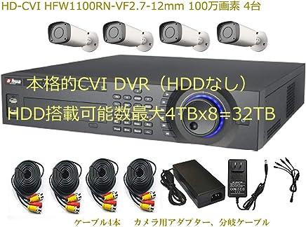 CVI HCVR7816SとHD-CVI HFW1100RN-VF2.7-12mm 100万画素 バレット IRカメラ4台のセットれた多チャンネルの同期再生と動作検知の同期再生 使い易い再生を好まれる方にお勧め 遠隔ソフト(スマホとPCに対応) 日本語対応 安心の1年保証 *HDDなし