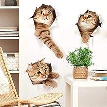 WandSticker4U® - 3 x 3D Kat in de muur I wandafbeeldingen: 73 x 40 cm I waterdichte muursticker voor keuken badkamer tegel...