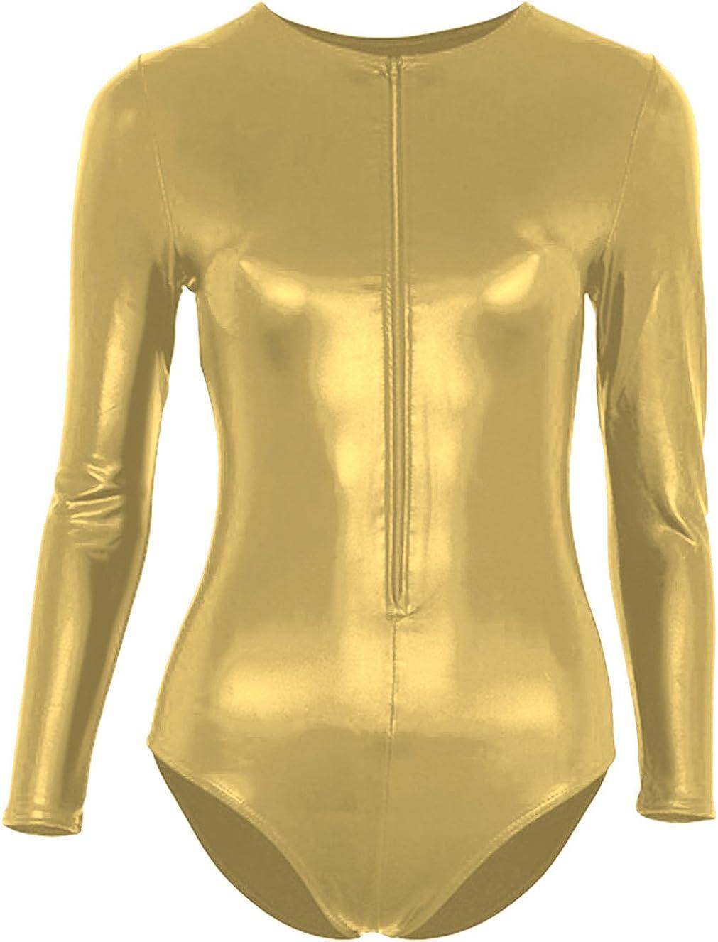 Sheface Women's Shiny Long Sleeve Bodysuit Zipped Wetlook Dance Unitard