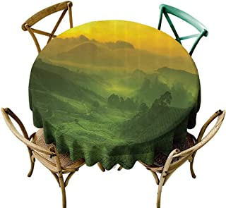 Jbgzzm Waterproof Tablecloth Room Decorations Collection Sunrise View of Tea Plantation Field Freshness Morning at Cameron Highland Malaysia Image Table Decoration D71 Green