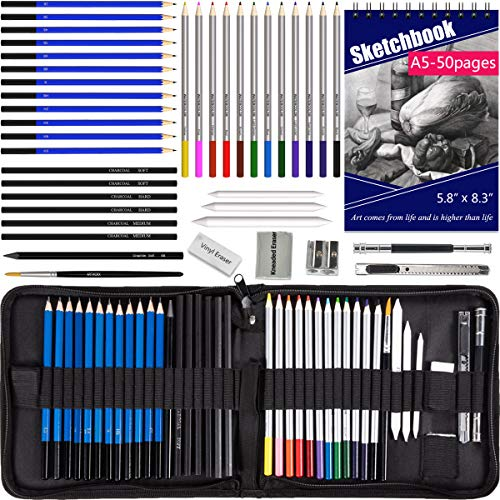 Drawing Pencils with Sketchbook 50 Pages, Colored Pencils 42pcs Set in a Portable Zipper Case, Watercolor Pencils, Sketch Pencils n Accessories Included for Kids n Adults, Beginners n Pros