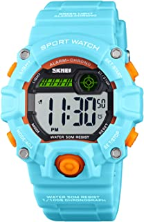 Boys Camouflage LED Sports Kids Watch Waterproof Digital Electronic Military Wrist Watches for Kids with Silicone Band Ala...