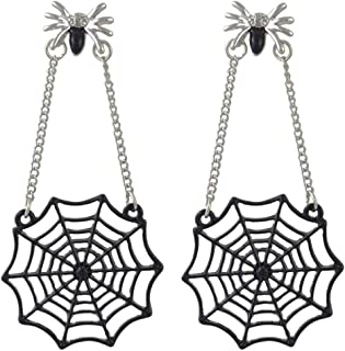 SUNSCSC Black Spider Web Dangle Hook Earrings for Women Girls Gothic Punk Vintage Halloween Jewelry