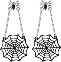 SUNSCSC Black Spider Web Dangle Hook Earrings for Women Girls Gothic Punk Vintage Halloween Jewelry