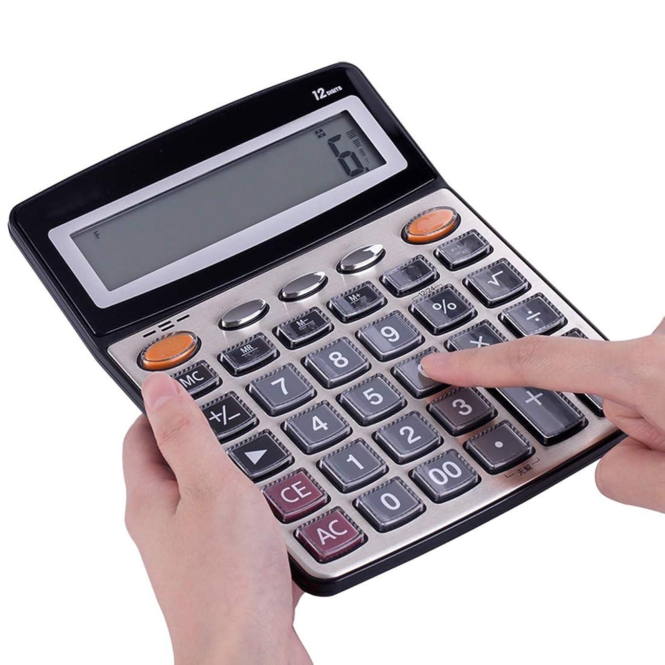 Tcaijing 電卓、ハンドヘルド電卓大型電卓デスクトップ電卓、12桁LCDディスプレイスクールホームオフィスバッテリー2AAバッテリー(別売)