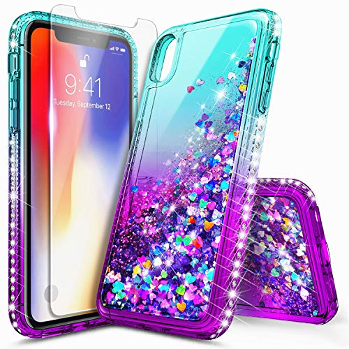iPhone Xs Max Case with Tempered Glass Screen Protector for Girls Women, NageBee Glitter Bling Liquid Floating Quicksand Waterfall Sparkle Durable Cute Case for iPhone Xs MAX 6.5 inch -Aqua/Purple
