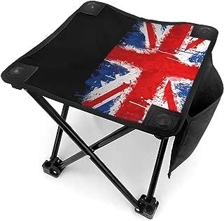 Camping Stool Foldable British Flag Grunge Travel Slacker Chair Portable Outdoor Four Legs High Chair