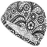 Harley Dulles Gorros de baño de Encaje Negro Patrón sin Costuras Vintage con Flores Gorro de baño Gorro de baño Gorro de baño Antideslizante para SPA