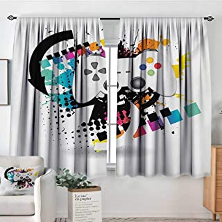 Elliot Dorothy Rod Pocket Curtains Gamer,Modern Console Game Comtroller with Halftone Motif and Color Splashes Background,Multicolor,for Room Darkening Panels for Living Room, Bedroom 42