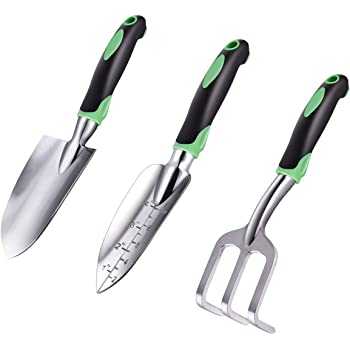 ZUZUAN Garden Tool Set, 3 Pack Garden Hand Shovels Aluminum Alloy Garden Trowels with Ergonomic Rubberized Non-Slip Grip, Included Trowel, Transplant Trowel and Cultivator Hand Rake