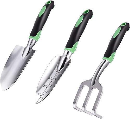 ZUZUAN Garden Tool Set, 3 Pack Garden Hand Shovels Aluminum Alloy Garden Trowels with Ergonomic Rubberized Non-Slip G...