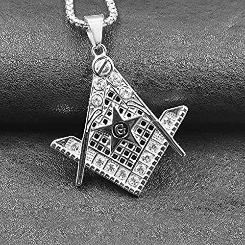 BACKZY MXJP Collar Hip Hop Iced out Crystal Masonic Estrella De Cinco Puntas G Collares Y Colgantes Collar Masónico De Acero Inoxidable Accesorios para Hombres Longitud 70Cm