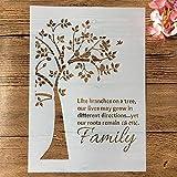 Plantillas de dibujo de pintura, tamaño A4, 29 cm, diseño de árbol genealógico, para manualidades, para pintar en pared, álbum de recortes, para colorear y repujar, plantilla decorativa